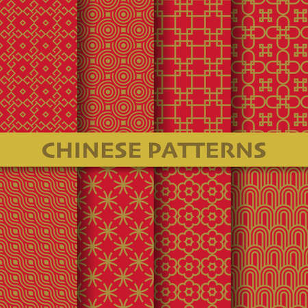 different chinese, Japanese and asian culture vector seamless patterns. Endless texture can be used for wallpaper, pattern fills, web page background, surface textures. vector graphic illustration