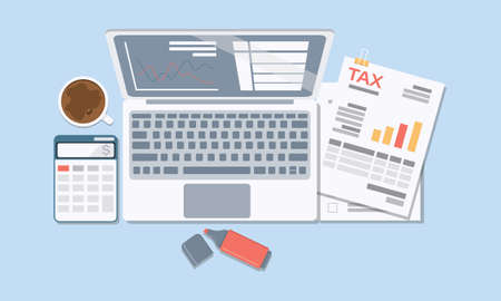 Concept of Tax and Accounting. There are Data analysis, paperwork, financial research report and calculation of tax return. Payment of debt. Vector illustration.