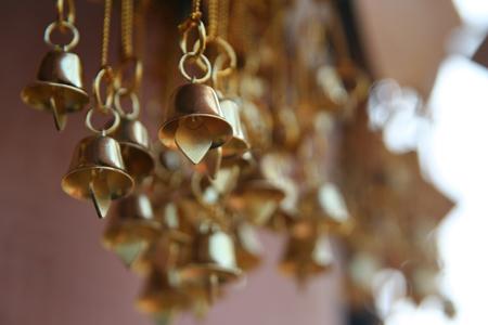 handbell: Many Handbell in front temple Stock Photo