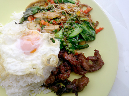 fired egg: Fried herbal vegetables & Fried Pock & Fired Egg with Rice