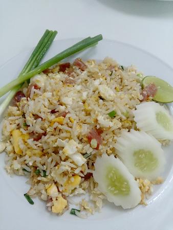 prepared shellfish: Sausage Fried Rice Stock Photo