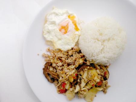carne picada: Stir fried mix mushroom with mince pork and mix vegetable.