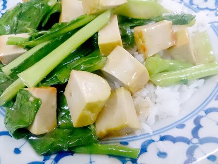 Fried tofu with Chinese broccoli &  thai jasmine rice,  Vegetarian Food, healthy food