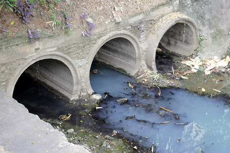 toxic water: Toxic water running from sewers in dirty underground sewer for dredging drain tunnel cleaning