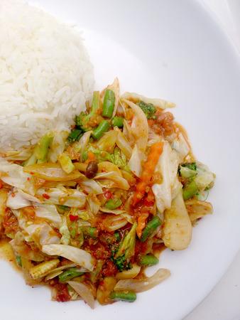 coliflor: Vegetarian Food  with Tofu, Sweet radish and Curry & thai jasmine rice, Healthy food