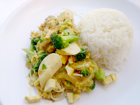 Vegetarian Food with fried mixed vegetables with noodles made of green grams & thai jasmine rice, Healthy food. thai food Stock Photo