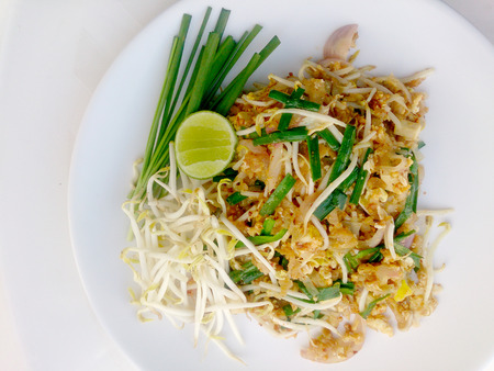 Pad Thai noodles - Thai food style ,Pad Thai, stir-fried rice noodles with  tofu. The one of Thailands national main dish. the popular food in Thailand. Thai Fried Noodles, Vegetarian Food, Stock Photo