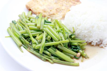 chinese spinach: Stir-Fried Chinese Morning Glory, Water Spinach, Tumis Kangkung, stir fried morning glory .phad puk boong fri dang. thai food.
