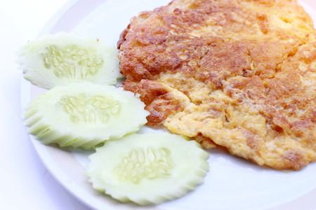 Traditional Thai omelet,simple but delicious. Thai people knows it well. The plain omelet is so good, Vegetarian Food, Healthy food, Thai Cuisine.