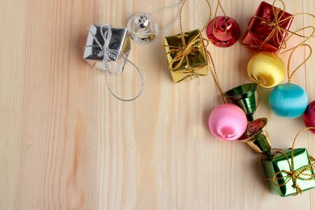 Christmas gift boxes on pine wooden table. Topview with copy space for your text Stock Photo