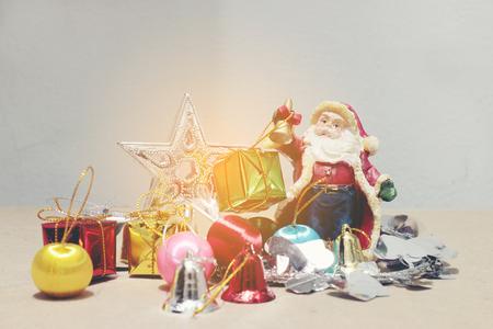 christmas deco: new years and christmas deco Christmas gift box and Santa Claus