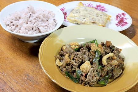 plato del buen comer: Spicy fried minced pork salad, Thai spicy liver salad, northen thai food