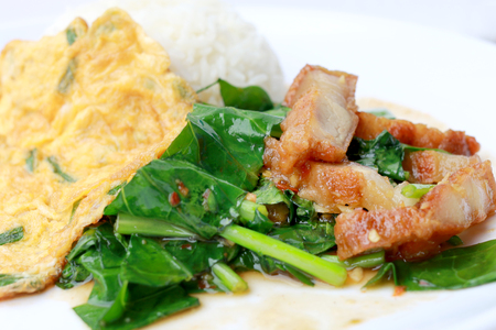 baby rice: Stir fried kale with crispy pork and Thai Omelette with rice in white dish iIsolated on white background, Thai Food