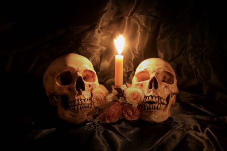 Two Human Skulls and dry flowers in dim valentines night on old wooden table  Still life Image