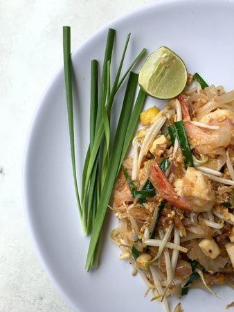 Pad Thai, stir-fried rice noodles with shrimp. The one of Thailands national main dish. the popular food in Thailand.