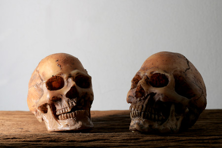 convicts: Still life photography with human skull on wooden table with background.