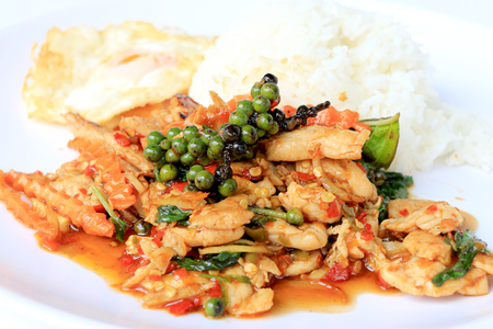 snap bean: stir fried chicken with roasted chili paste and fresh Piper nigrum on jasmine rice in white plate on white background. Thai style food. Stock Photo