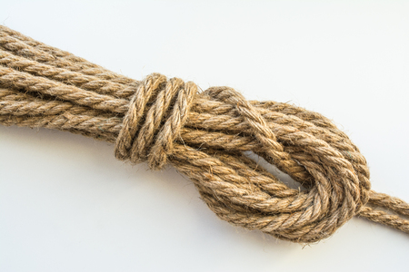 rope made from flax loop, abstract background, closeup Stock Photo