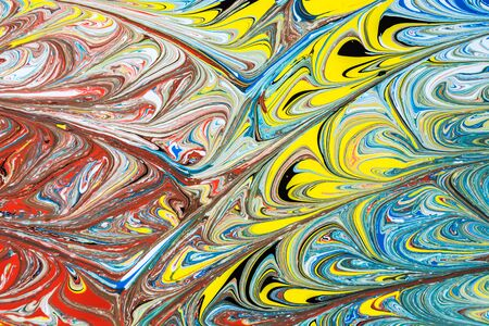 Abstract illustration of a combination of red, blue, yellow and black colors on a white background, chaotic pattern of straight and sinuous lines Imagens - 87003433
