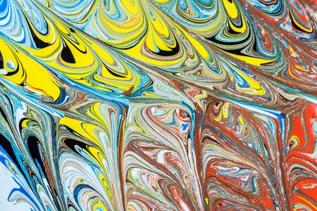 Abstract illustration of a combination of red, blue, yellow and black colors on a white background, chaotic pattern of straight and sinuous lines Imagens