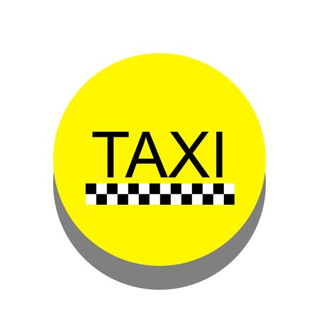 taxi sign, graphic design on yellow circle Stock Photo