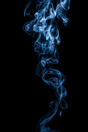 Abstract blue smoke texture on black background
