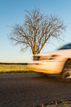 swerving: Part of the white car in motion. An asphalted rural road with a tree on the roadside in cloudless weather Stock Photo