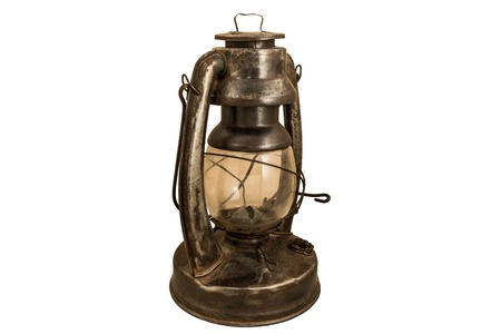 old rusty kerosene lamp with mct glass on a white background