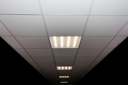 suspended ceiling of square porous plates and built-in LED lamp