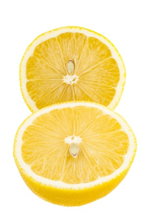 two cut half of lemon on white background, abstract close-up background Stock Photo