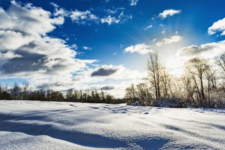 snowy field and forest during the sunset of the bright sun, blue sky with clouds, winter landscape of wildlife Stock Photo
