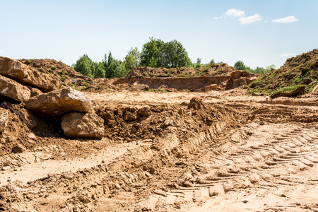 developed sand pit, place for construction site, construction abstract background
