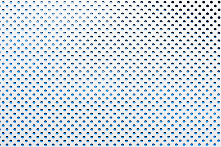gray abstract background on based of metal, blue circles and shadows, texture of the white surface with a lot of round holes