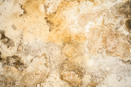 dark grunge texture of old cracked concrete wall, destroyed plaster layer of antique surface, historical architecture abstraction background Stock Photo