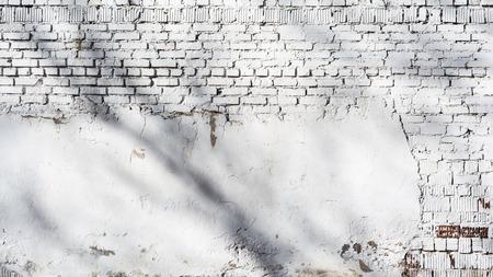 Textur der alten weißen Backsteinmauer mit zerstörter Putzschicht und Schatten von Bäumen, Architektur Nahaufnahme abstrakter Hintergrund