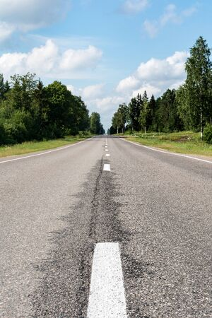 Modern asphalt road with road marking elements. Perspective view of a two-lane highway passing through a forest