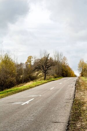 A curving autumn asphalt road with colorful forest and mountain in the far distance in cloudy day