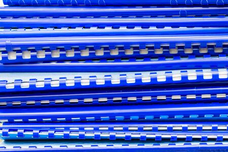 stack of blue folders with documents, paperwork abstract background 写真素材