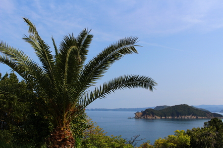The scenery of the sea from a coast in Wakayama.