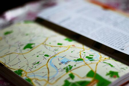travel guide with map in macro