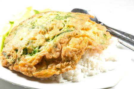 Fried Acacia Pennata and rice Stock Photo - 24064485