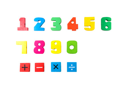 alphabetical order: Random Colored Digits in Alphabetical Order Isolated on White  zero, one, two, three, four, five, six, seven, eight, nine