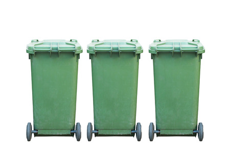 trash can: Green garbage, trash bin isolated on white background Stock Photo