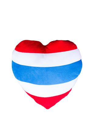 throw cushion: heart shaped pillow striped flag thai Stock Photo