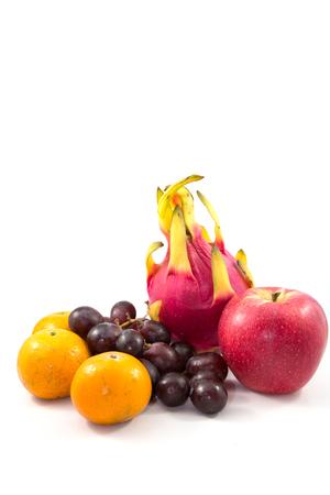 concord grape: Lansium domesticum, grapes, orange, apple and Dragon fruit Stock Photo