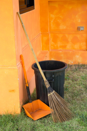 Cleaning set - broom and dust pan photo