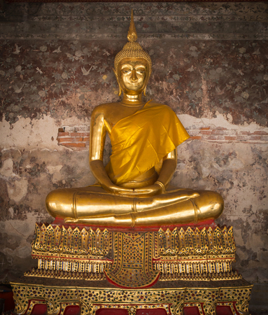 public domain: Golden Buddha statue, Wat Suthat, Thailand, Statue in Buddhist Thailand temple or wat, are public domain.