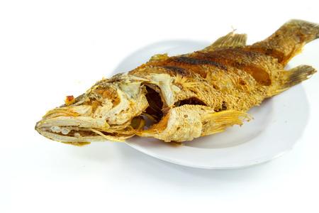 white nile: frito tilapia del nilo de pescado en un plato blanco Foto de archivo