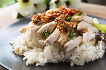 boned: boned, sliced Hainan-style chicken with marinated rice