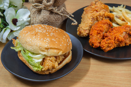hamburger with chicken